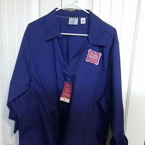 NWT Rider Stretch Botton Up Blouse Royal Blue 3X